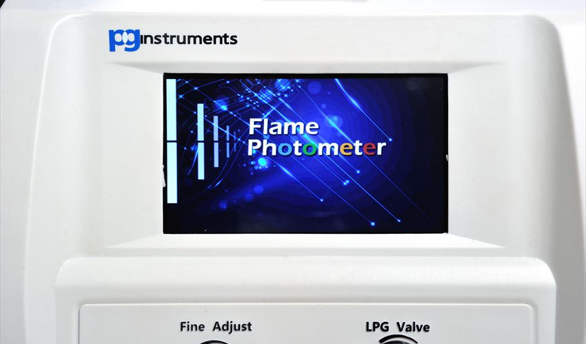PG Instruments Flame Photometer FP910 Wecome Screen.